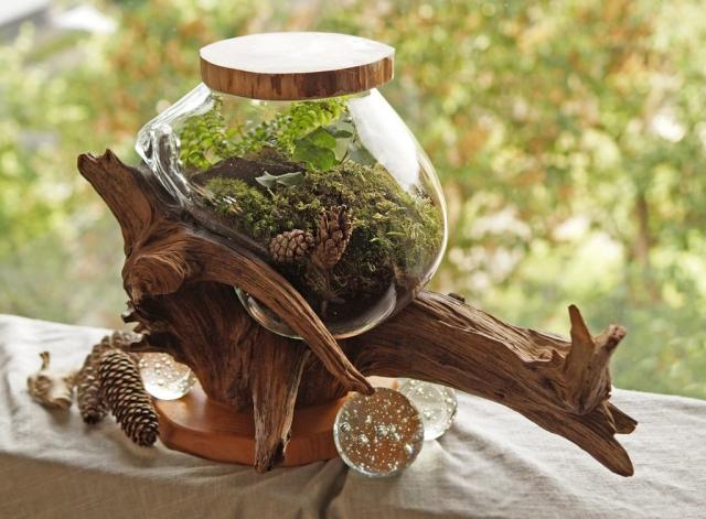 Kompozycja leśna wykonana w szklanej misie wlanej na korzeń.